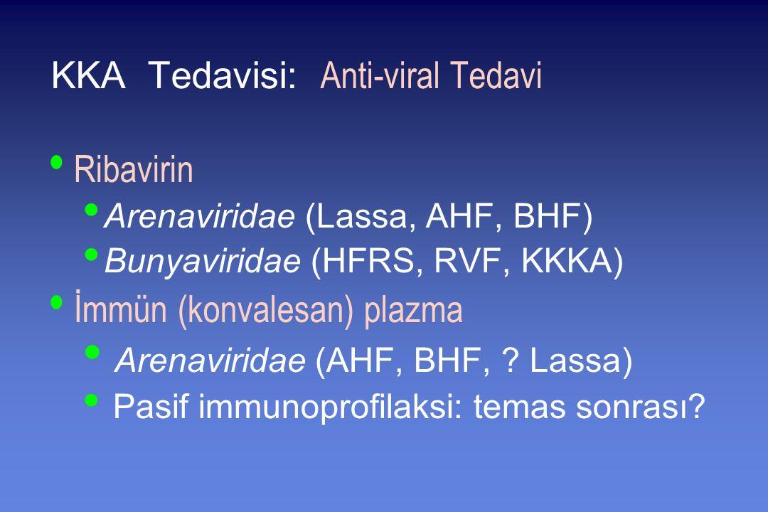KKA Tedavisi: Anti-viral Tedavi Ribavirin Arenaviridae (Lassa, AHF, BHF) Bunyaviridae (HFRS, RVF, KKKA) İmmün (konvalesan) plazma Arenaviridae (AHF, BHF, .