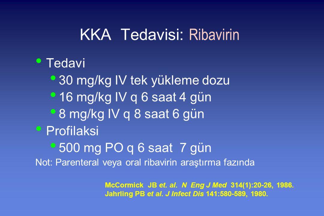 KKA Tedavisi: Ribavirin Tedavi 30 mg/kg IV tek yükleme dozu 16 mg/kg IV q 6 saat 4 gün 8 mg/kg IV q 8 saat 6 gün Profilaksi 500 mg PO q 6 saat 7 gün Not: Parenteral veya oral ribavirin araştırma fazında McCormick JB et.