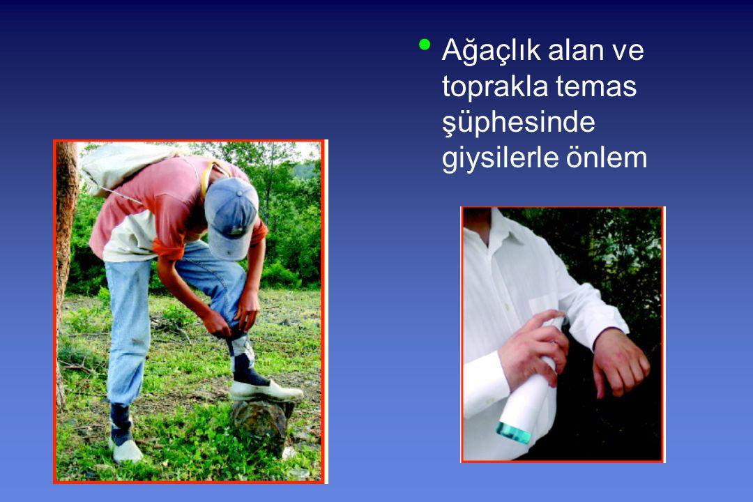 Ağaçlık alan ve toprakla temas şüphesinde giysilerle önlem