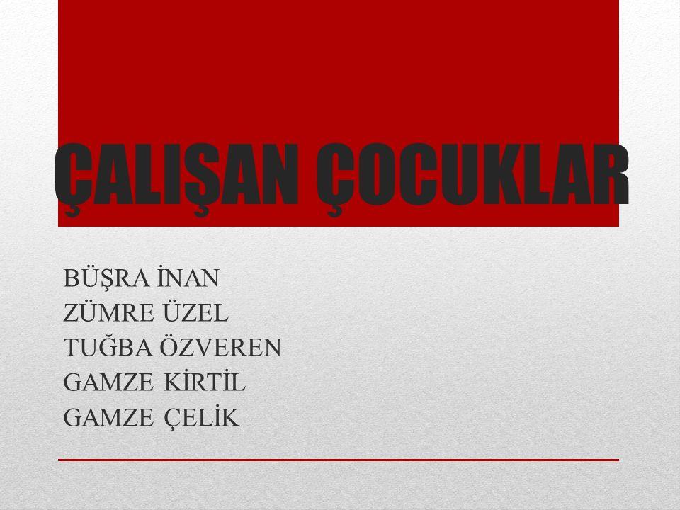 Türkiye'de çalışan her 100 kişiden 5'i 6-14 yaş grubu çalışan çocuklar; her 100 kişiden 14'ü 15-19 yaş grubu gençler; her 100 kişiden 18'i 6-19 yaş grubu çalışan çocuklar veya gençlerdir.