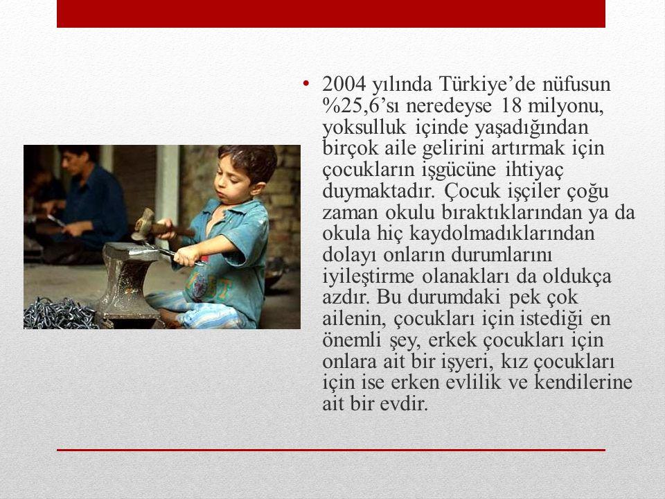 2004 yılında Türkiye'de nüfusun %25,6'sı neredeyse 18 milyonu, yoksulluk içinde yaşadığından birçok aile gelirini artırmak için çocukların işgücüne ihtiyaç duymaktadır.