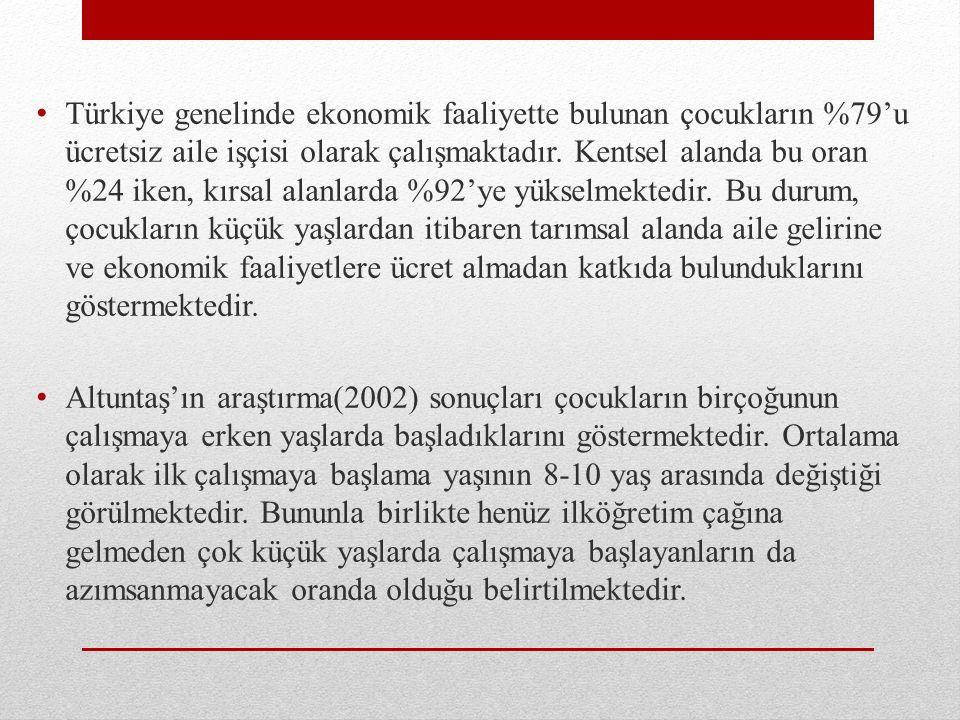 Türkiye genelinde ekonomik faaliyette bulunan çocukların %79'u ücretsiz aile işçisi olarak çalışmaktadır.