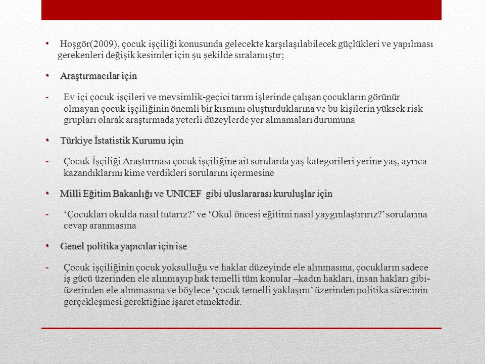 Hoşgör(2009), çocuk işçiliği konusunda gelecekte karşılaşılabilecek güçlükleri ve yapılması gerekenleri değişik kesimler için şu şekilde sıralamıştır; Araştırmacılar için Araştırmacılar için -Ev içi çocuk işçileri ve mevsimlik-geçici tarım işlerinde çalışan çocukların görünür olmayan çocuk işçiliğinin önemli bir kısmını oluşturduklarına ve bu kişilerin yüksek risk grupları olarak araştırmada yeterli düzeylerde yer almamaları durumuna Türkiye İstatistik Kurumu için Türkiye İstatistik Kurumu için -Çocuk İşçiliği Araştırması çocuk işçiliğine ait sorularda yaş kategorileri yerine yaş, ayrıca kazandıklarını kime verdikleri sorularını içermesine Milli Eğitim Bakanlığı ve UNICEF gibi uluslararası kuruluşlar için Milli Eğitim Bakanlığı ve UNICEF gibi uluslararası kuruluşlar için -'Çocukları okulda nasıl tutarız?' ve 'Okul öncesi eğitimi nasıl yaygınlaştırırız?' sorularına cevap aranmasına Genel politika yapıcılar için ise Genel politika yapıcılar için ise -Çocuk işçiliğinin çocuk yoksulluğu ve haklar düzeyinde ele alınmasına, çocukların sadece iş gücü üzerinden ele alınmayıp hak temelli tüm konular –kadın hakları, insan hakları gibi- üzerinden ele alınmasına ve böylece 'çocuk temelli yaklaşım' üzerinden politika sürecinin gerçekleşmesi gerektiğine işaret etmektedir.
