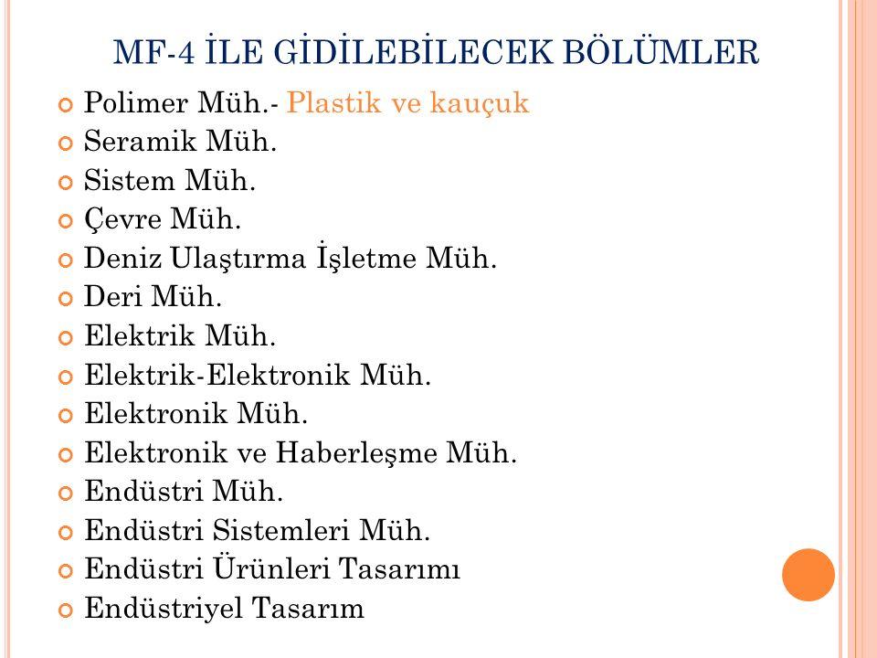 MF-4 İLE GİDİLEBİLECEK BÖLÜMLER Polimer Müh.- Plastik ve kauçuk Seramik Müh.