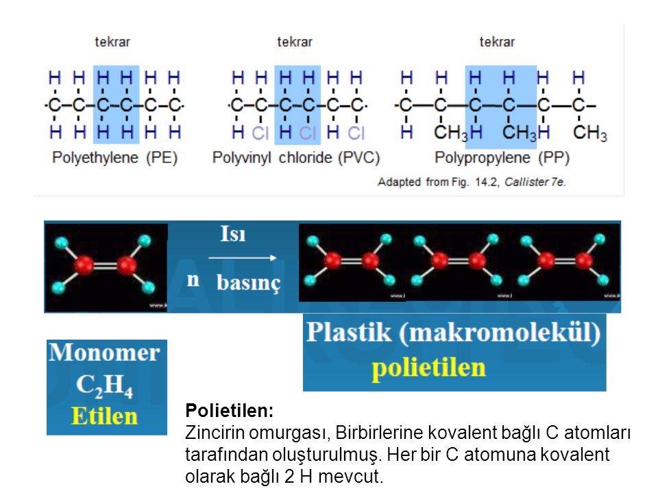 Polietilen: Zincirin omurgası, Birbirlerine kovalent bağlı C atomları tarafından oluşturulmuş.