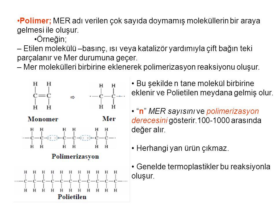 Polimer; MER adı verilen çok sayıda doymamış moleküllerin bir araya gelmesi ile oluşur.