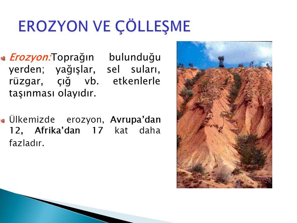 Erozyon:Toprağın bulunduğu yerden; yağışlar, sel suları, rüzgar, çığ vb. etkenlerle taşınması olayıdır. Ülkemizde erozyon, Avrupa'dan 12, Afrika'dan 1