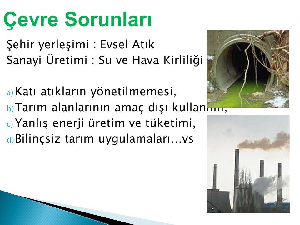 Şehir yerleşimi : Evsel Atık Sanayi Üretimi : Su ve Hava Kirliliği a) Katı atıkların yönetilmemesi, b) Tarım alanlarının amaç dışı kullanımı, c) Yanlış enerji üretim ve tüketimi, d) Bilinçsiz tarım uygulamaları…vs Çevre Sorunları