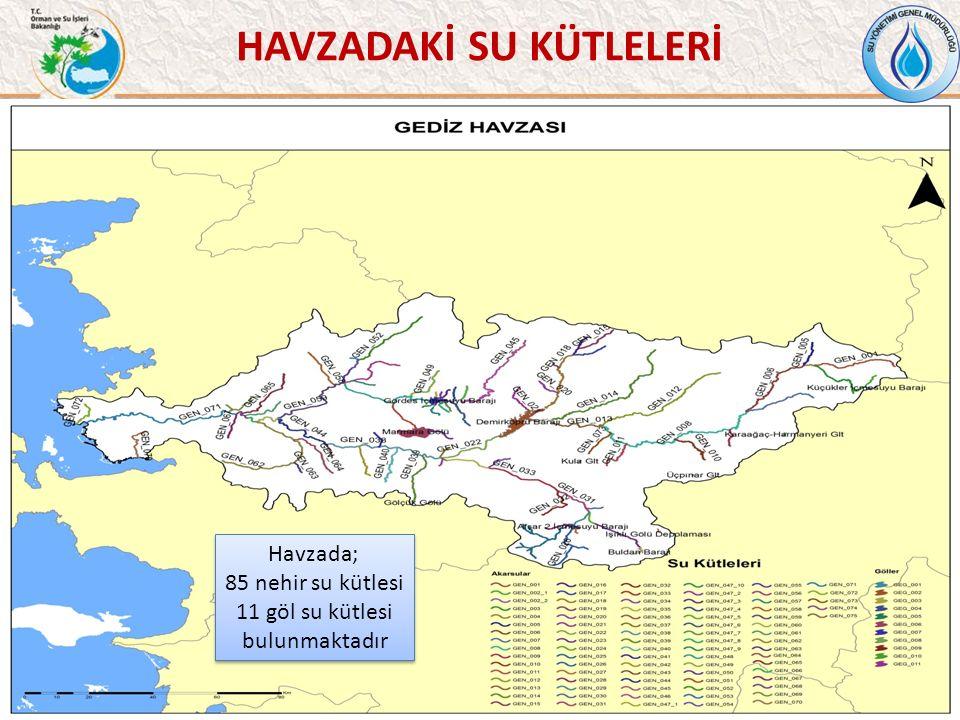HAVZADAKİ SU KÜTLELERİ 38 Havzada; 85 nehir su kütlesi 11 göl su kütlesi bulunmaktadır Havzada; 85 nehir su kütlesi 11 göl su kütlesi bulunmaktadır