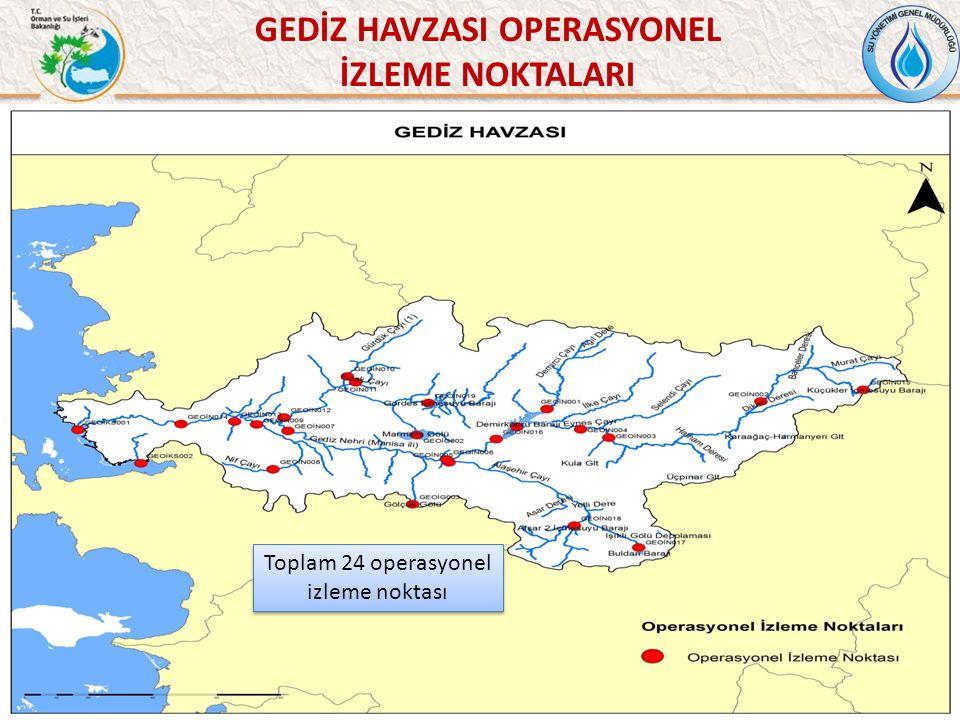 46 GEDİZ HAVZASI OPERASYONEL İZLEME NOKTALARI Toplam 24 operasyonel izleme noktası