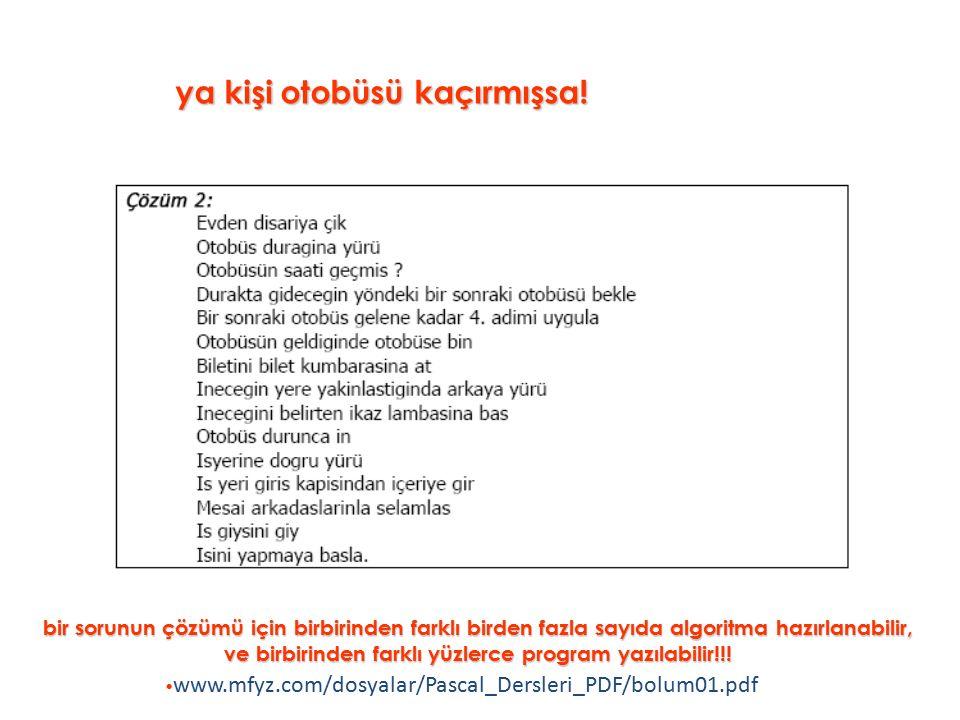 2.Uygulama: 2.Uygulama: 1 den 100 e kadar olan sayıların toplamlarını ve ortalamalarını veren programın akış diyagramı www.mfyz.com/dosyalar/Pascal_Dersleri_PDF/bolum01.pdf