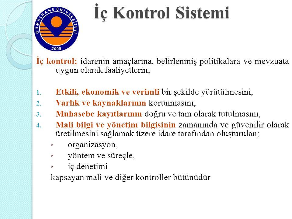 İç Kontrol Sistemi İç kontrol; idarenin amaçlarına, belirlenmiş politikalara ve mevzuata uygun olarak faaliyetlerin; 1. Etkili, ekonomik ve verimli bi