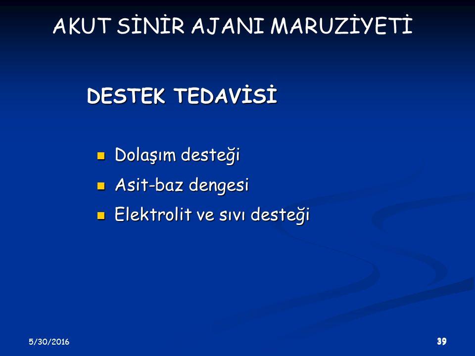 5/30/2016 39 DESTEK TEDAVİSİ Dolaşım desteği Dolaşım desteği Asit-baz dengesi Asit-baz dengesi Elektrolit ve sıvı desteği Elektrolit ve sıvı desteği AKUT SİNİR AJANI MARUZİYETİ