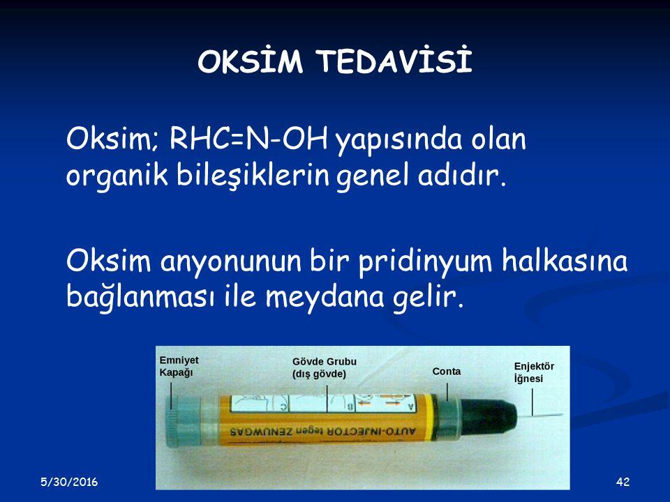 5/30/2016 42 OKSİM TEDAVİSİ Oksim; RHC=N-OH yapısında olan organik bileşiklerin genel adıdır. Oksim anyonunun bir pridinyum halkasına bağlanması ile m