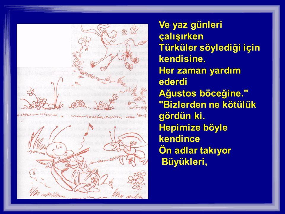 Ve yaz günleri çalışırken Türküler söylediği için kendisine.