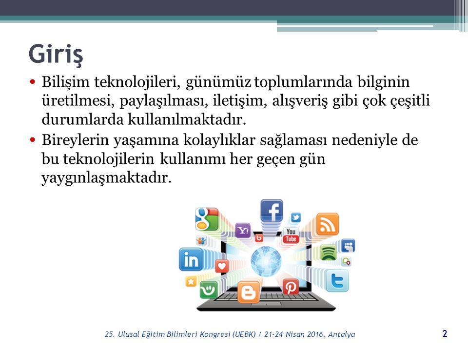 Teşekkürler 33 25. Ulusal Eğitim Bilimleri Kongresi (UEBK) / 21-24 Nisan 2016, Antalya
