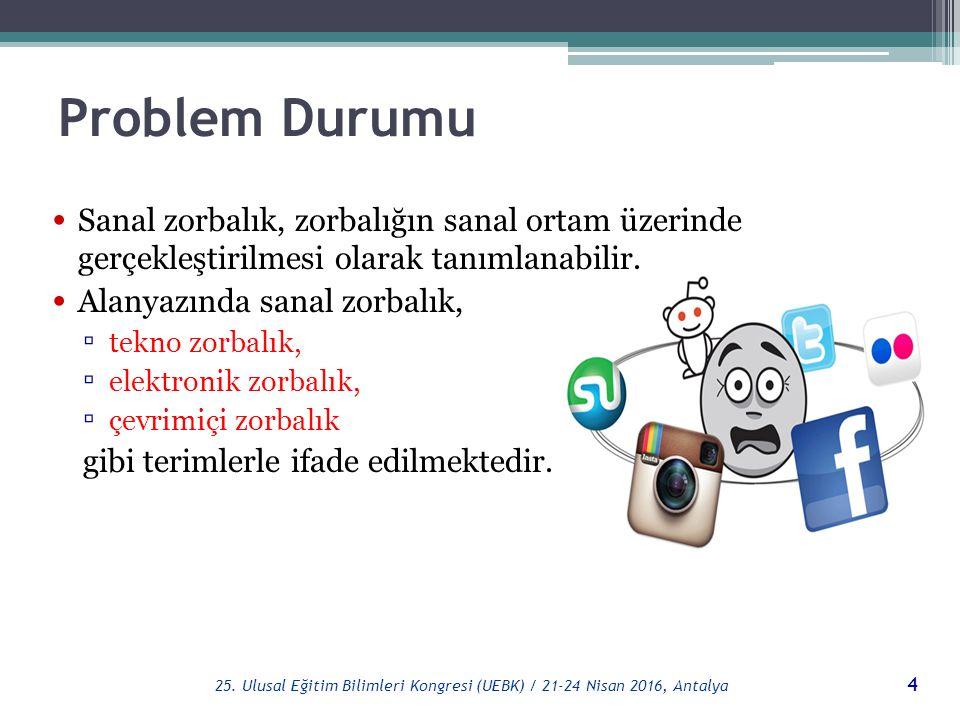 Problem Durumu Sanal zorbalık türleri (Willard, 2004): ▫ Çevrimiçi kavga etme ▫ İftira ▫ Başka bir kimliğe bürünme ▫ Zarar verme ▫ Başkasının bilgilerini internet ortamında izinsiz kullanma 5 25.