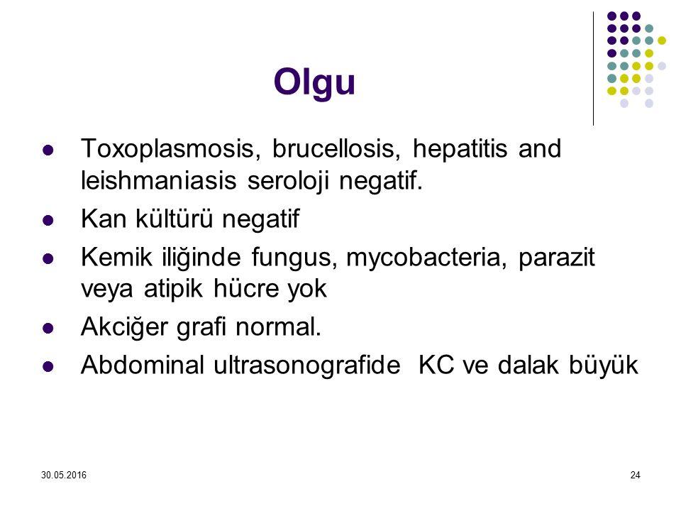 Olgu Toxoplasmosis, brucellosis, hepatitis and leishmaniasis seroloji negatif. Kan kültürü negatif Kemik iliğinde fungus, mycobacteria, parazit veya a