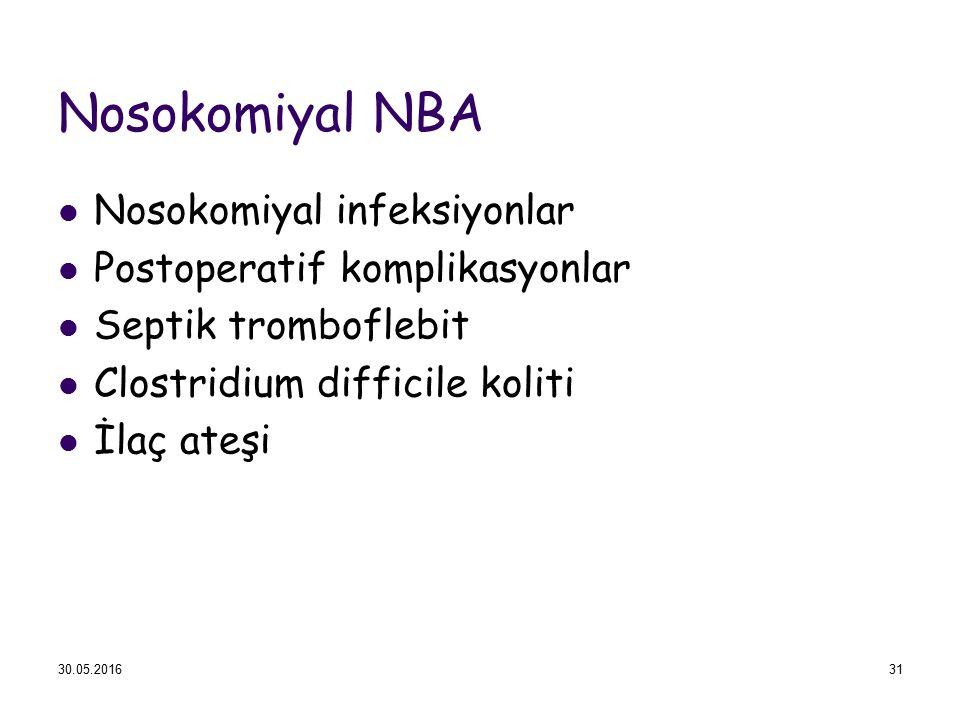 Nosokomiyal NBA Nosokomiyal infeksiyonlar Postoperatif komplikasyonlar Septik tromboflebit Clostridium difficile koliti İlaç ateşi 30.05.201631