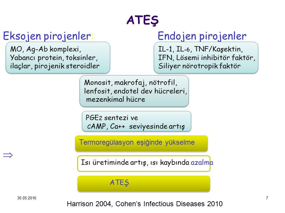 ATEŞ Eksojen pirojenler: Endojen pirojenler  Harrison 2004, Cohen's Infectious Diseases 2010 30.05.20167 MO, Ag-Ab komplexi, Yabancı protein, toksinl