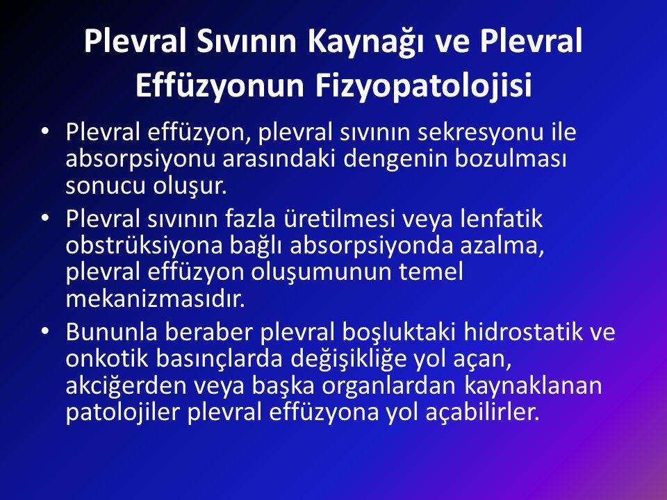 Plevral Sıvının Kaynağı ve Plevral Effüzyonun Fizyopatolojisi Plevral effüzyon, plevral sıvının sekresyonu ile absorpsiyonu arasındaki dengenin bozulması sonucu oluşur.