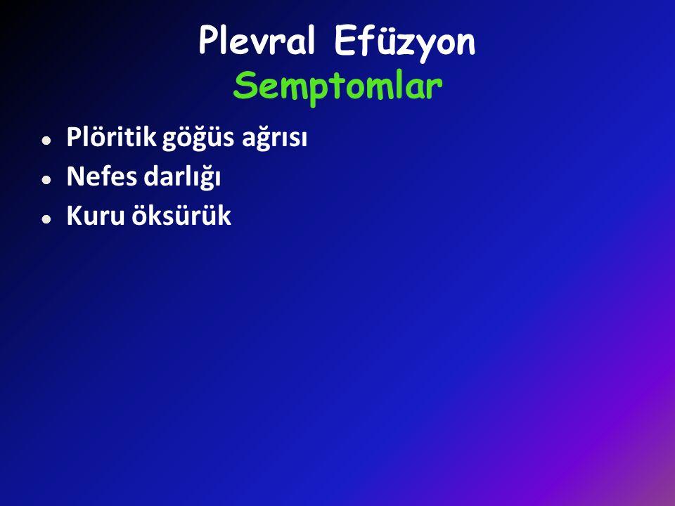 Plevral Efüzyon Semptomlar l Plöritik göğüs ağrısı l Nefes darlığı l Kuru öksürük