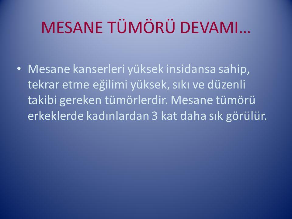 MESANE TÜMÖRÜ DEVAMI… Mesane kanserleri yüksek insidansa sahip, tekrar etme eğilimi yüksek, sıkı ve düzenli takibi gereken tümörlerdir. Mesane tümörü