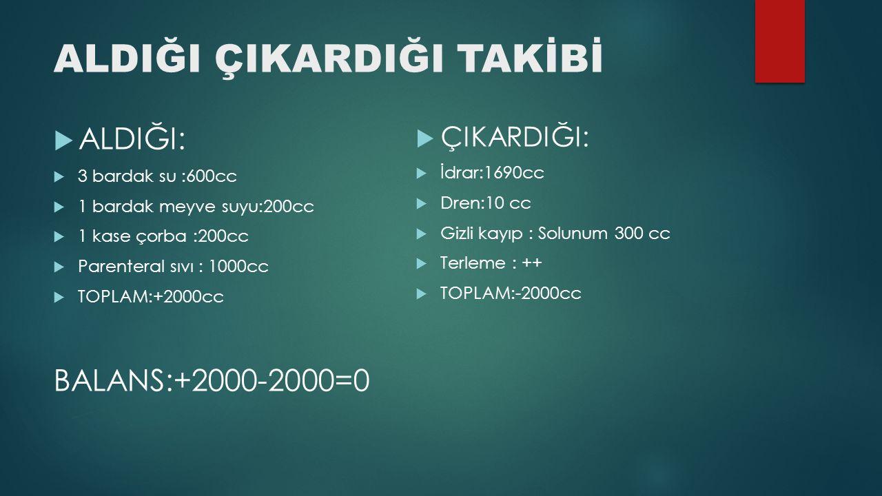 ALDIĞI ÇIKARDIĞI TAKİBİ  ALDIĞI:  3 bardak su :600cc  1 bardak meyve suyu:200cc  1 kase çorba :200cc  Parenteral sıvı : 1000cc  TOPLAM:+2000cc B