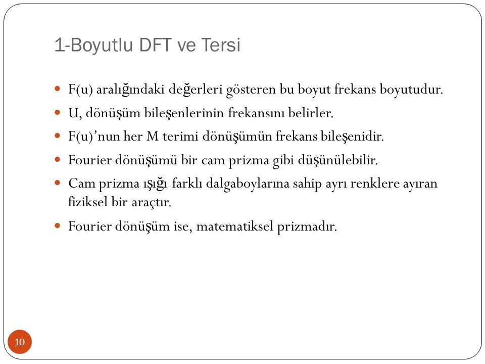 1-Boyutlu DFT ve Tersi 10 F(u) aralı ğ ındaki de ğ erleri gösteren bu boyut frekans boyutudur. U, dönü ş üm bile ş enlerinin frekansını belirler. F(u)