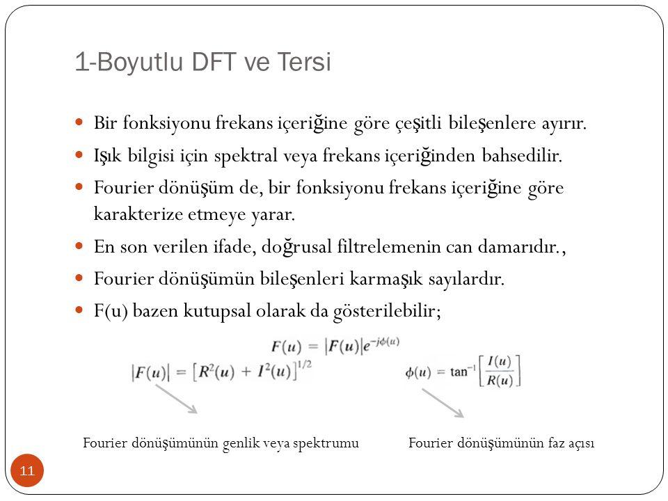 1-Boyutlu DFT ve Tersi 11 Bir fonksiyonu frekans içeri ğ ine göre çe ş itli bile ş enlere ayırır. I ş ık bilgisi için spektral veya frekans içeri ğ in