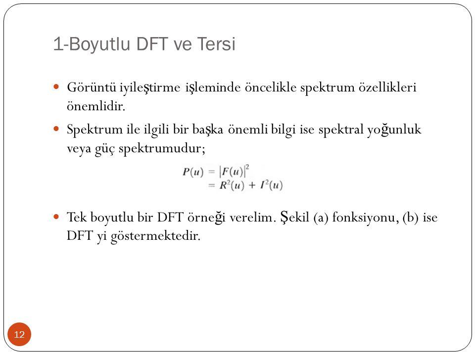 1-Boyutlu DFT ve Tersi 12 Görüntü iyile ş tirme i ş leminde öncelikle spektrum özellikleri önemlidir. Spektrum ile ilgili bir ba ş ka önemli bilgi ise