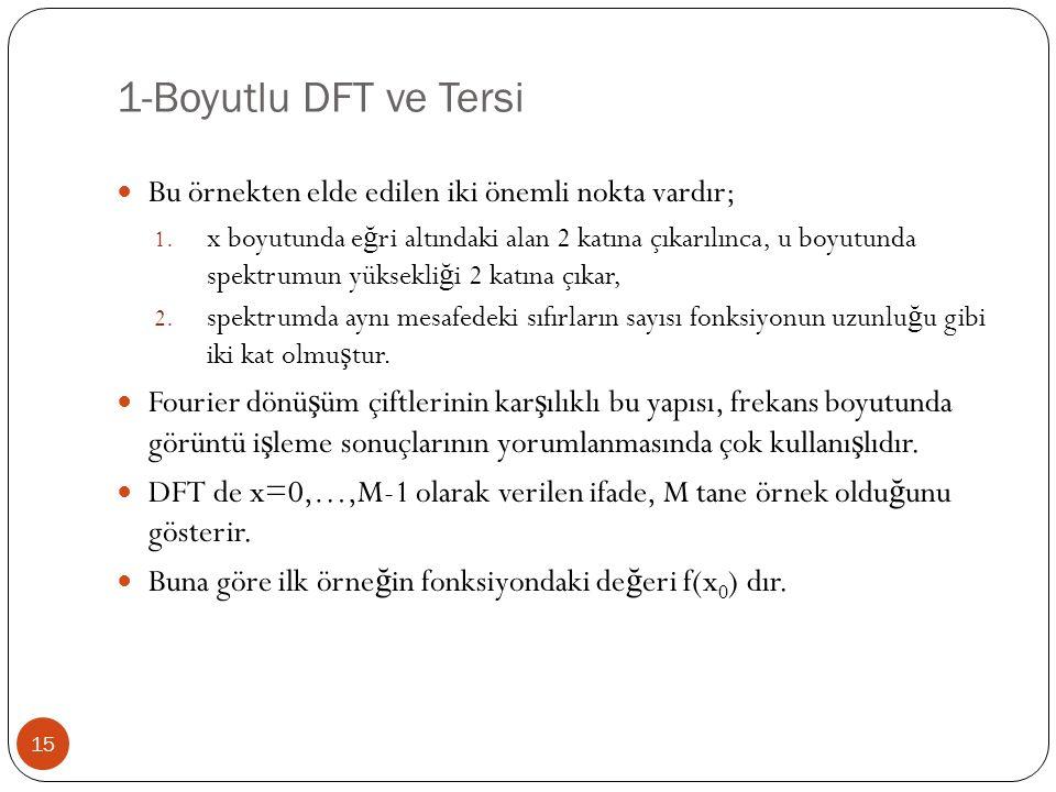 1-Boyutlu DFT ve Tersi 15 Bu örnekten elde edilen iki önemli nokta vardır; 1. x boyutunda e ğ ri altındaki alan 2 katına çıkarılınca, u boyutunda spek