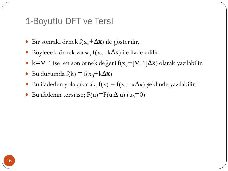 1-Boyutlu DFT ve Tersi 16 Bir sonraki örnek f(x 0 + ∆x ) ile gösterilir. Böylece k örnek varsa, f(x 0 +k ∆x ) ile ifade edilir. k=M-1 ise, en son örne