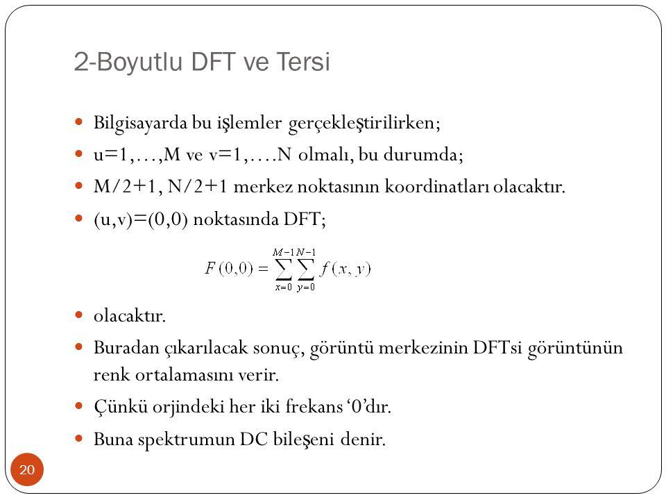 2-Boyutlu DFT ve Tersi 20 Bilgisayarda bu i ş lemler gerçekle ş tirilirken; u=1,…,M ve v=1,….N olmalı, bu durumda; M/2+1, N/2+1 merkez noktasının koor