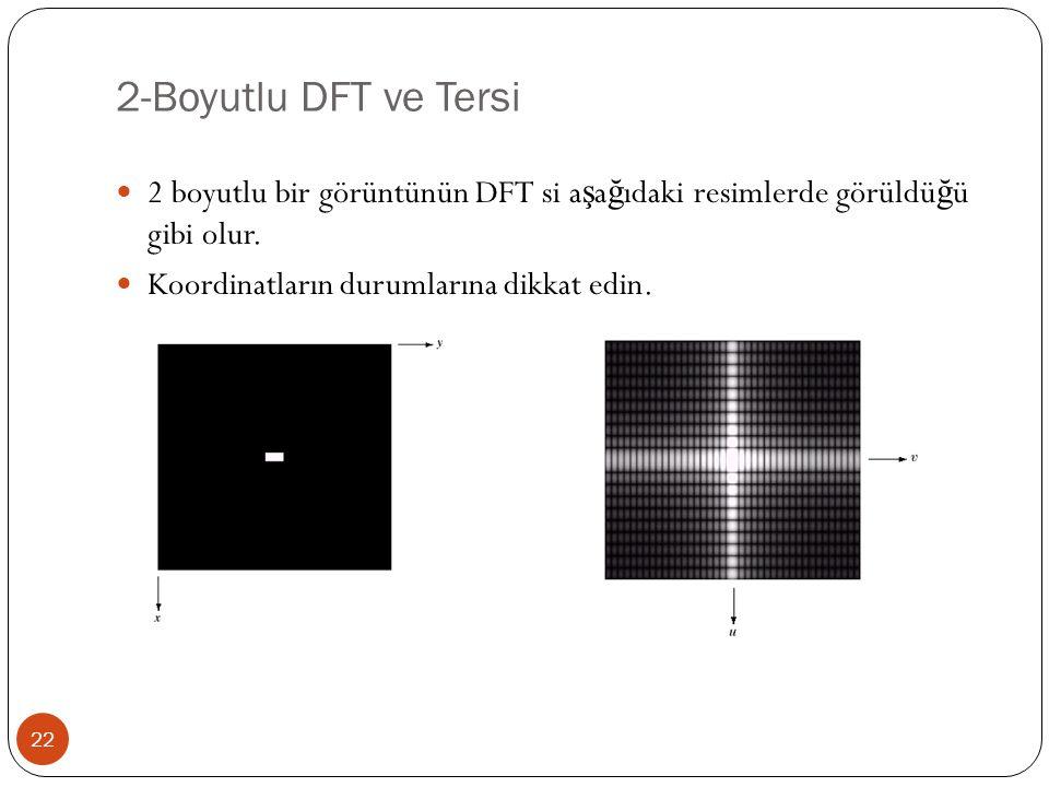 2-Boyutlu DFT ve Tersi 22 2 boyutlu bir görüntünün DFT si a ş a ğ ıdaki resimlerde görüldü ğ ü gibi olur. Koordinatların durumlarına dikkat edin.