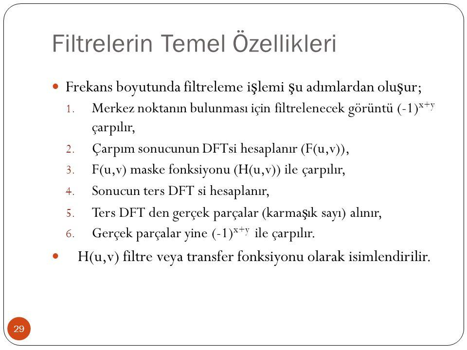 Filtrelerin Temel Özellikleri 29 Frekans boyutunda filtreleme i ş lemi ş u adımlardan olu ş ur; 1. Merkez noktanın bulunması için filtrelenecek görünt