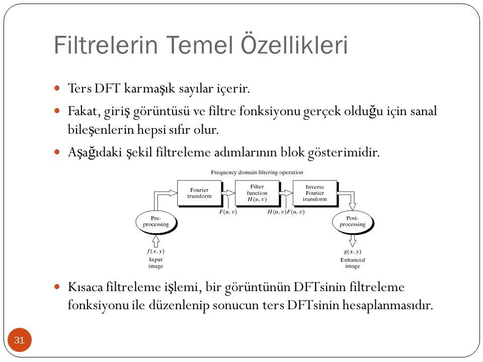 Filtrelerin Temel Özellikleri 31 Ters DFT karma ş ık sayılar içerir. Fakat, giri ş görüntüsü ve filtre fonksiyonu gerçek oldu ğ u için sanal bile ş en