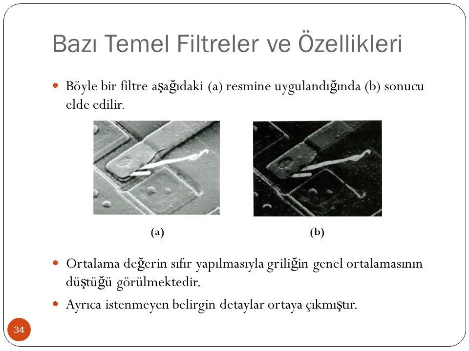 Bazı Temel Filtreler ve Özellikleri 34 Böyle bir filtre a ş a ğ ıdaki (a) resmine uygulandı ğ ında (b) sonucu elde edilir. Ortalama de ğ erin sıfır ya