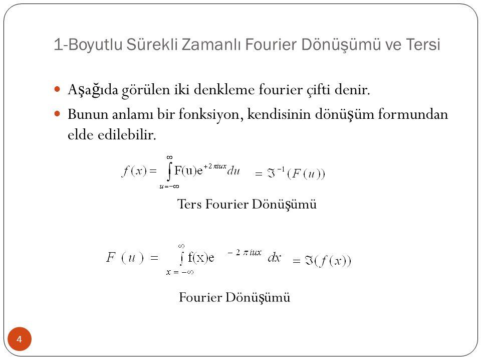1-Boyutlu Sürekli Zamanlı Fourier Dönüşümü ve Tersi 4 A ş a ğ ıda görülen iki denkleme fourier çifti denir. Bunun anlamı bir fonksiyon, kendisinin dön