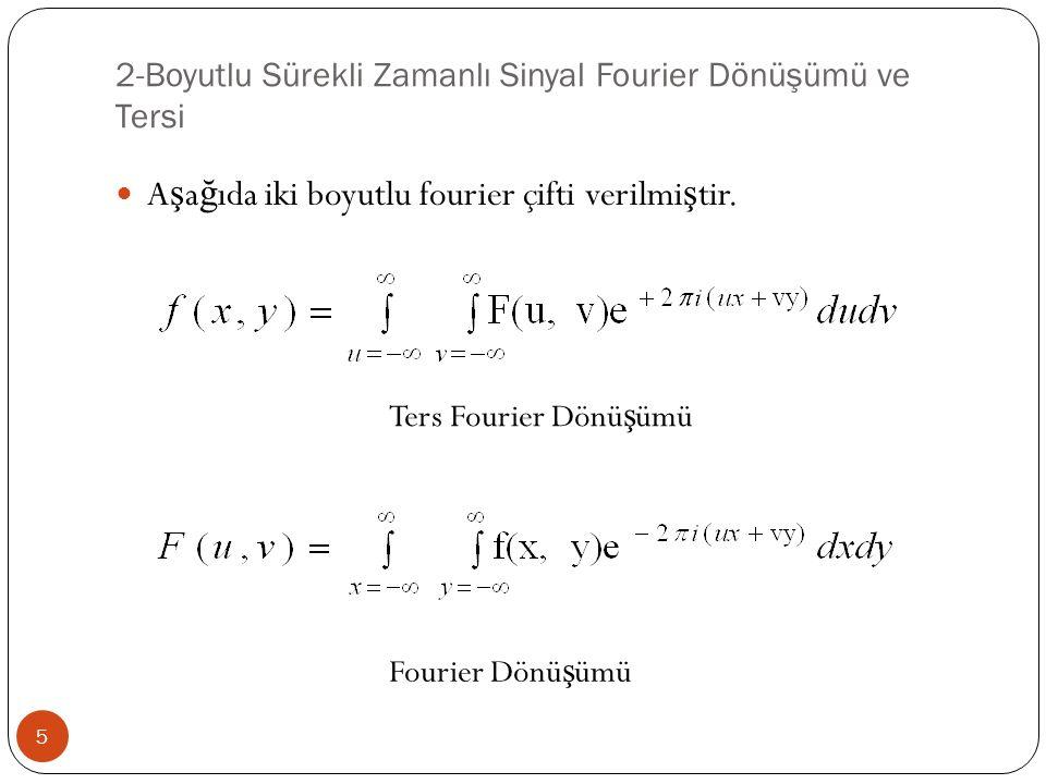 2-Boyutlu Sürekli Zamanlı Sinyal Fourier Dönüşümü ve Tersi 5 A ş a ğ ıda iki boyutlu fourier çifti verilmi ş tir. Ters Fourier Dönü ş ümü Fourier Dönü