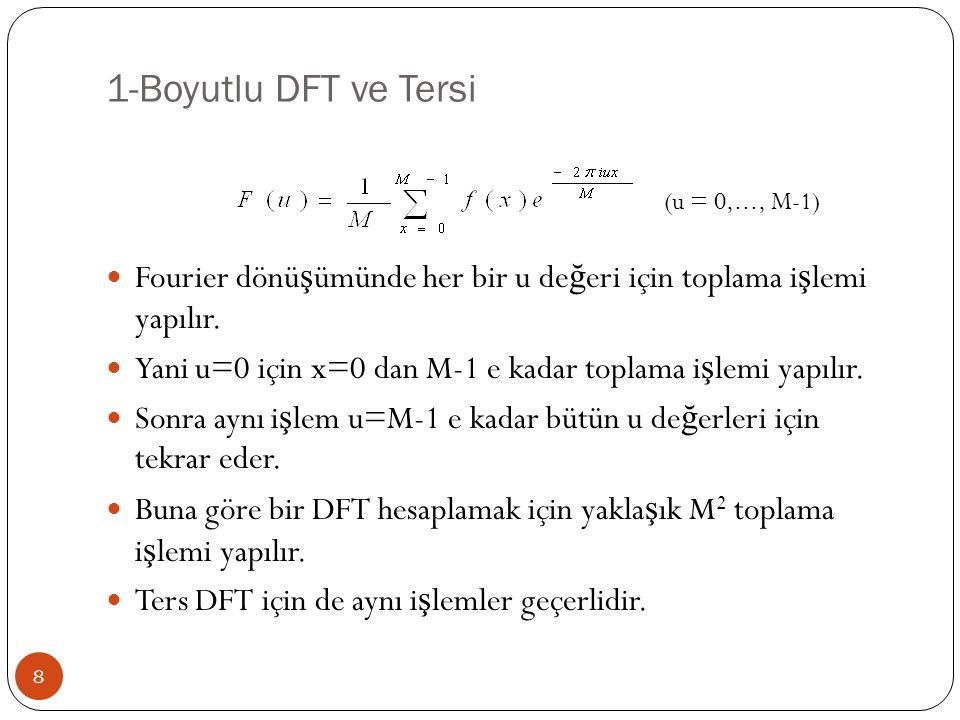 2-Boyutlu DFT ve Tersi 19 Pratikte yapılan uygulamalarda, giri ş olarak kullanılan görüntüye DFT uygulanmadan önce görüntü (-1) x+y ile çarpılır.