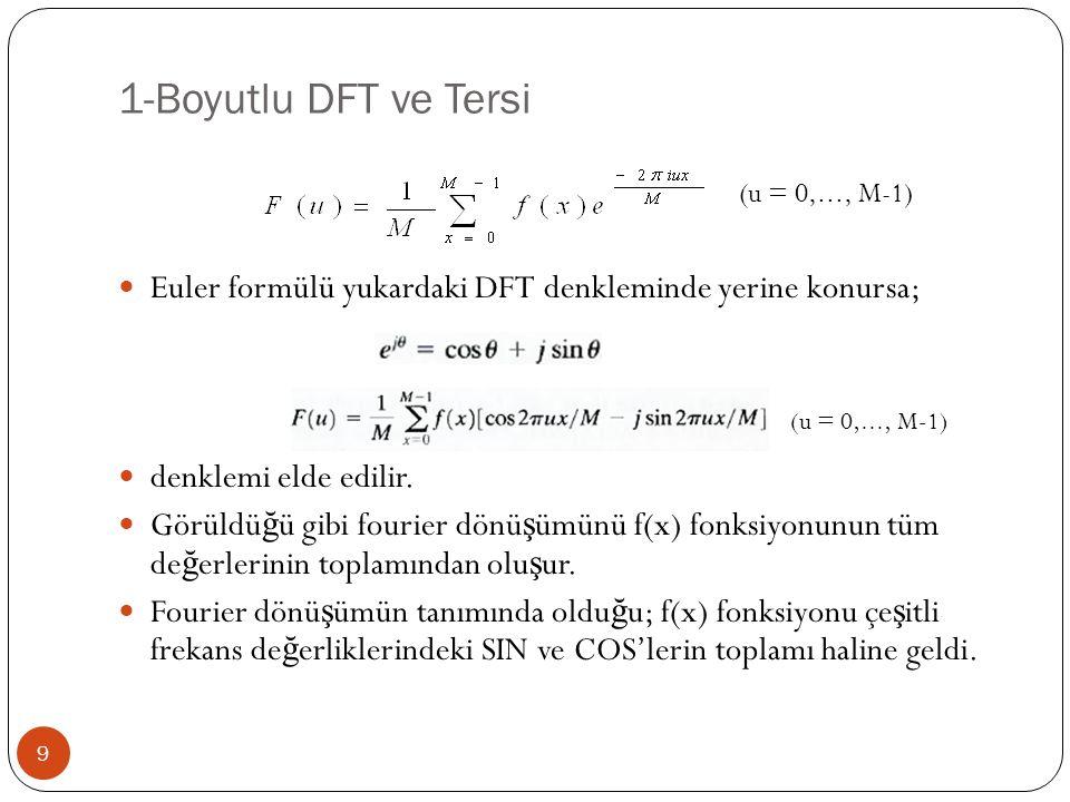 1-Boyutlu DFT ve Tersi 9 Euler formülü yukardaki DFT denkleminde yerine konursa; denklemi elde edilir. Görüldü ğ ü gibi fourier dönü ş ümünü f(x) fonk