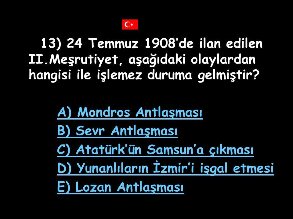 12) Duyunuumumiye yönetimi'nin kurularak Osmanlı vergi gelirlerine el konulmasının nedeni aşağıdakilerden hangisidir? A) Vergi miktarının öğrenilmek i