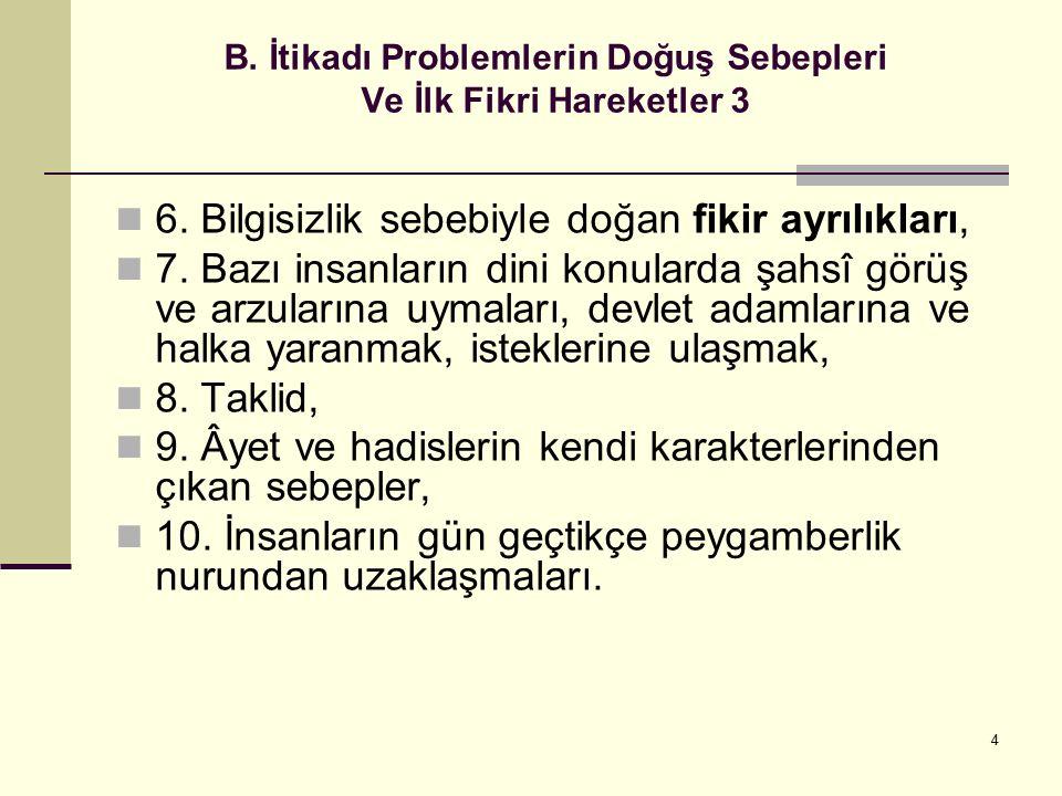4 B. İtikadı Problemlerin Doğuş Sebepleri Ve İlk Fikri Hareketler 3 6. Bilgisizlik sebebiyle doğan fikir ayrılıkları, 7. Bazı insanların dini konulard
