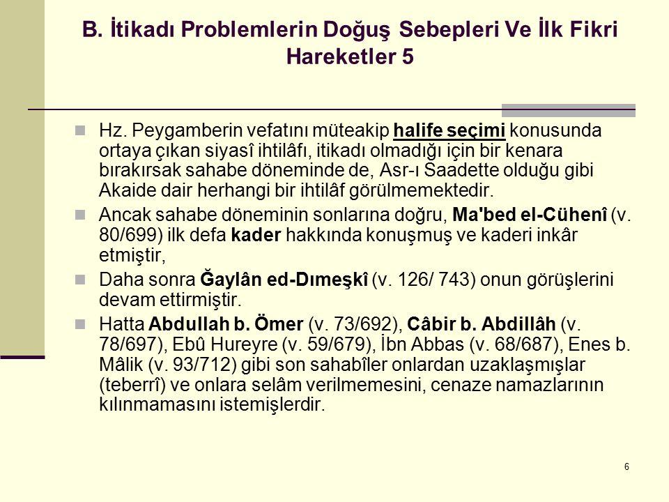 6 B. İtikadı Problemlerin Doğuş Sebepleri Ve İlk Fikri Hareketler 5 Hz. Peygamberin vefatını müteakip halife seçimi konusunda ortaya çıkan siyasî ihti