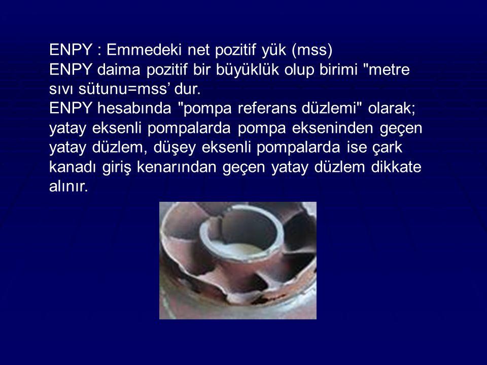 ENPY : Emmedeki net pozitif yük (mss) ENPY daima pozitif bir büyüklük olup birimi metre sıvı sütunu=mss' dur.
