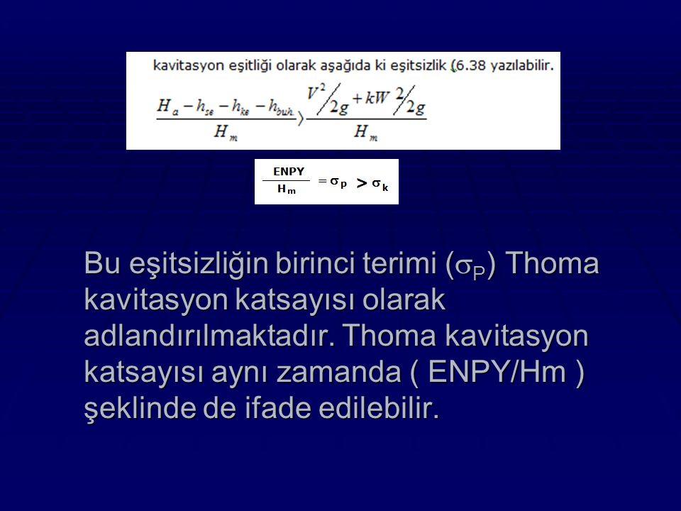Bu eşitsizliğin birinci terimi (  P ) Thoma kavitasyon katsayısı olarak adlandırılmaktadır.