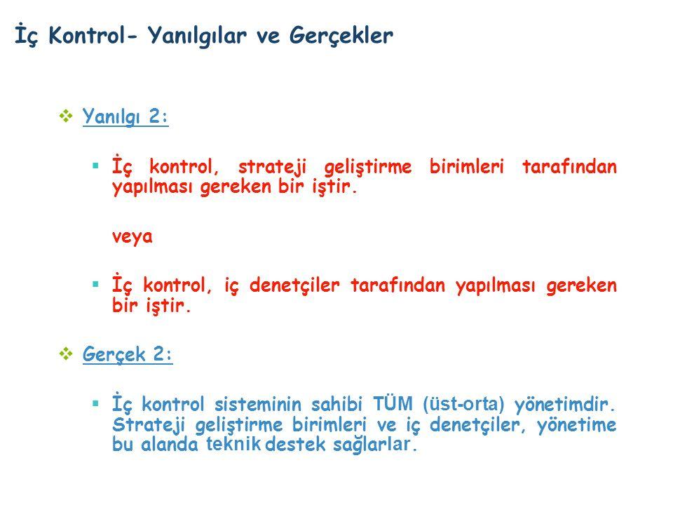 İç Kontrol- Yanılgılar ve Gerçekler  Yanılgı 2:  İç kontrol, strateji geliştirme birimleri tarafından yapılması gereken bir iştir.
