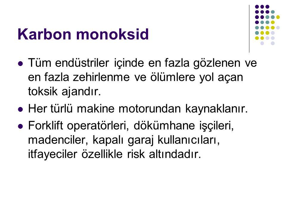 Karbon monoksid Tüm endüstriler içinde en fazla gözlenen ve en fazla zehirlenme ve ölümlere yol açan toksik ajandır.