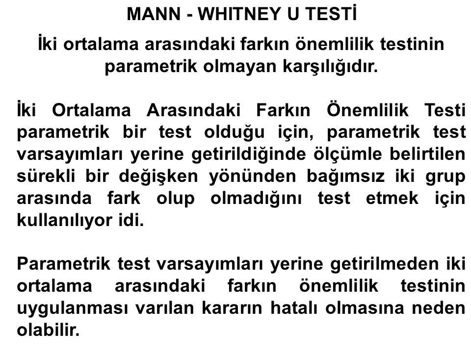 MANN - WHITNEY U TESTİ İki ortalama arasındaki farkın önemlilik testinin parametrik olmayan karşılığıdır.